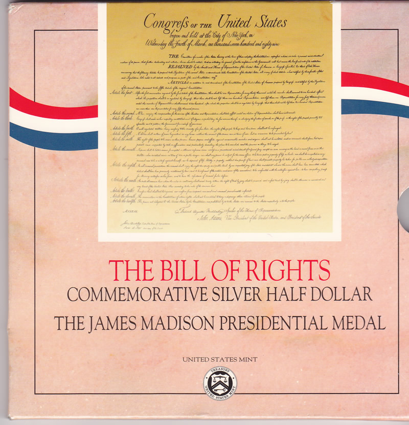 1993 Bill of Rights Half Dollar and James Madison Medal