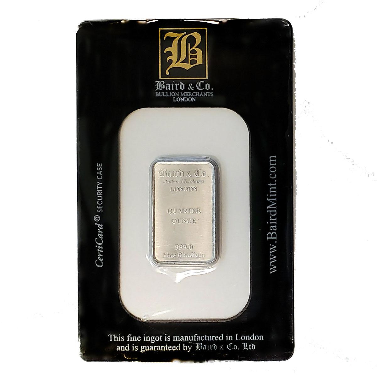 Baird Mint Quarter Ounce Rhodium Bar
