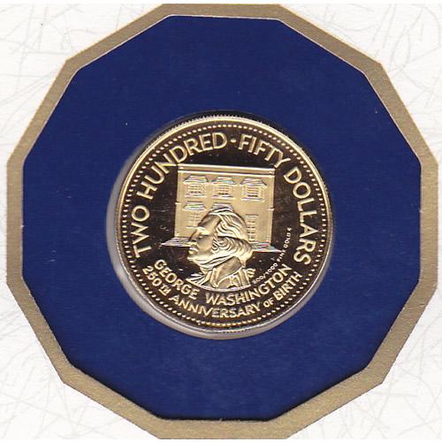 Barbados $250 Gold PF 1982 Washington 250th Anniversary
