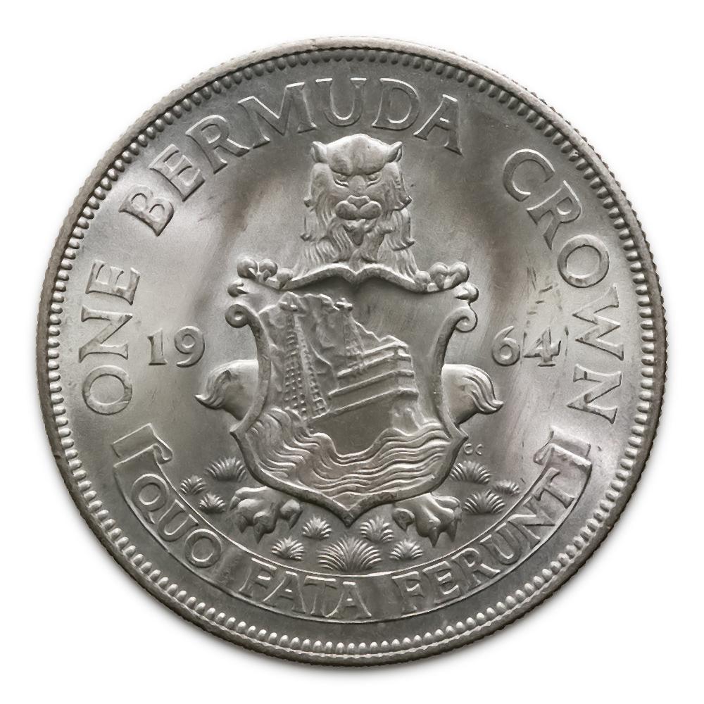 Bermuda 1 Crown Silver 1964 UNC Coat of Arms