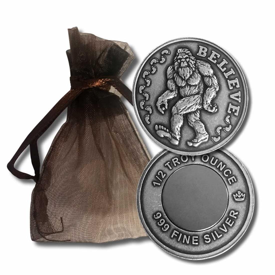 1/2 oz .999 Fine Silver Bigfoot Sasquatch Believe Magnet