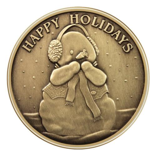 Christmas Bronze 2013 Happy Holidays Snowman 1oz X-12