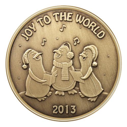 Christmas Bronze 2013 Joy to the World Penguin Choir 1oz X-13