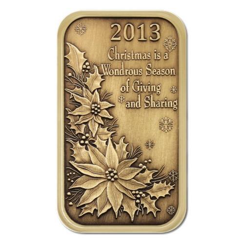 Christmas Bronze 2013 Christmas Poinsettia 1oz  Bar X-2