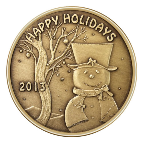 Christmas Bronze 2013 Happy Holidays Snowman with Top Hat 1oz X-3