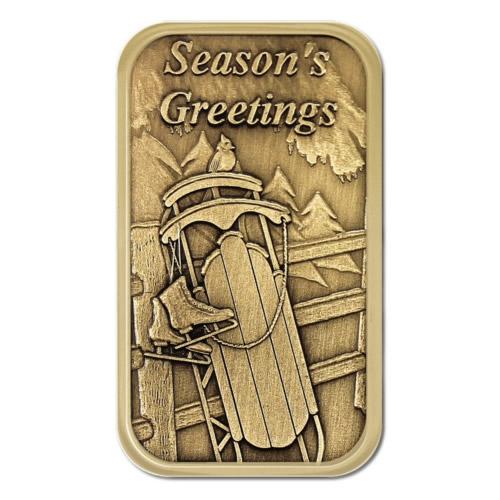 Christmas Bronze 2013 Seasons Greetings Sled 1oz  Bar X-7