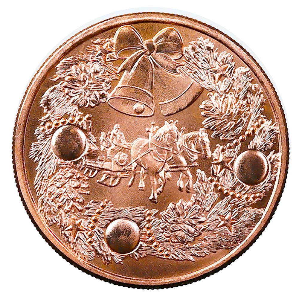 Christmas Holiday Wishes 1oz Copper Round
