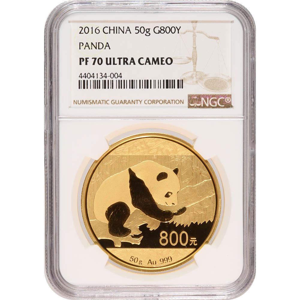 Certified 50 Gram Chinese Gold Panda 2016 800 Yuan PF70 NGC