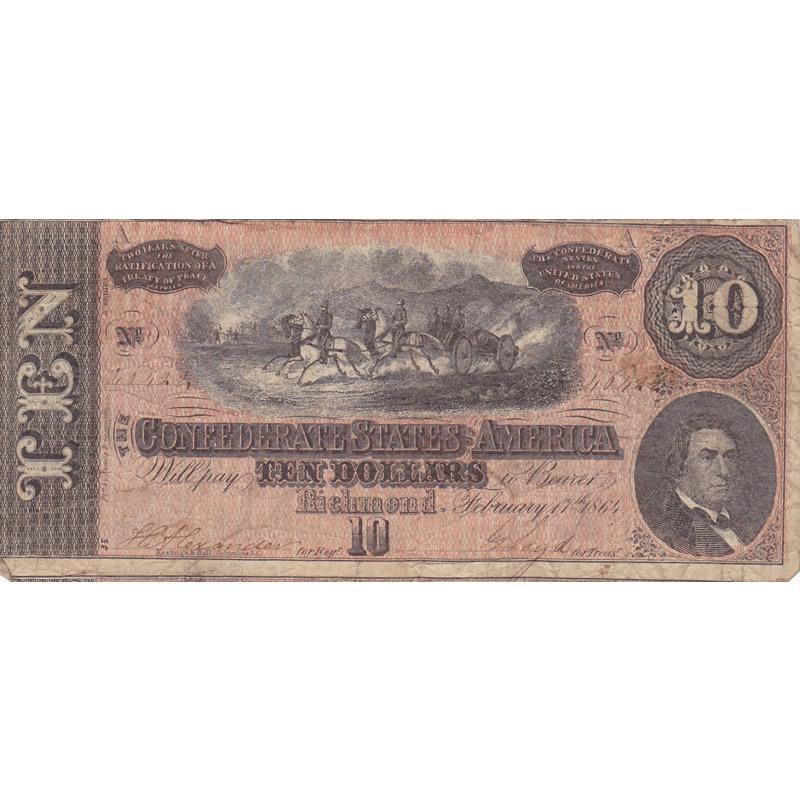 $10 1864 Confederate Note Richmond VA F-VF
