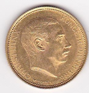 Denmark 20 Kroner Gold 1913-1917 Christian X