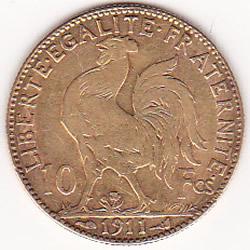 France 10 Francs Rooster Gold Coin 1899-1914