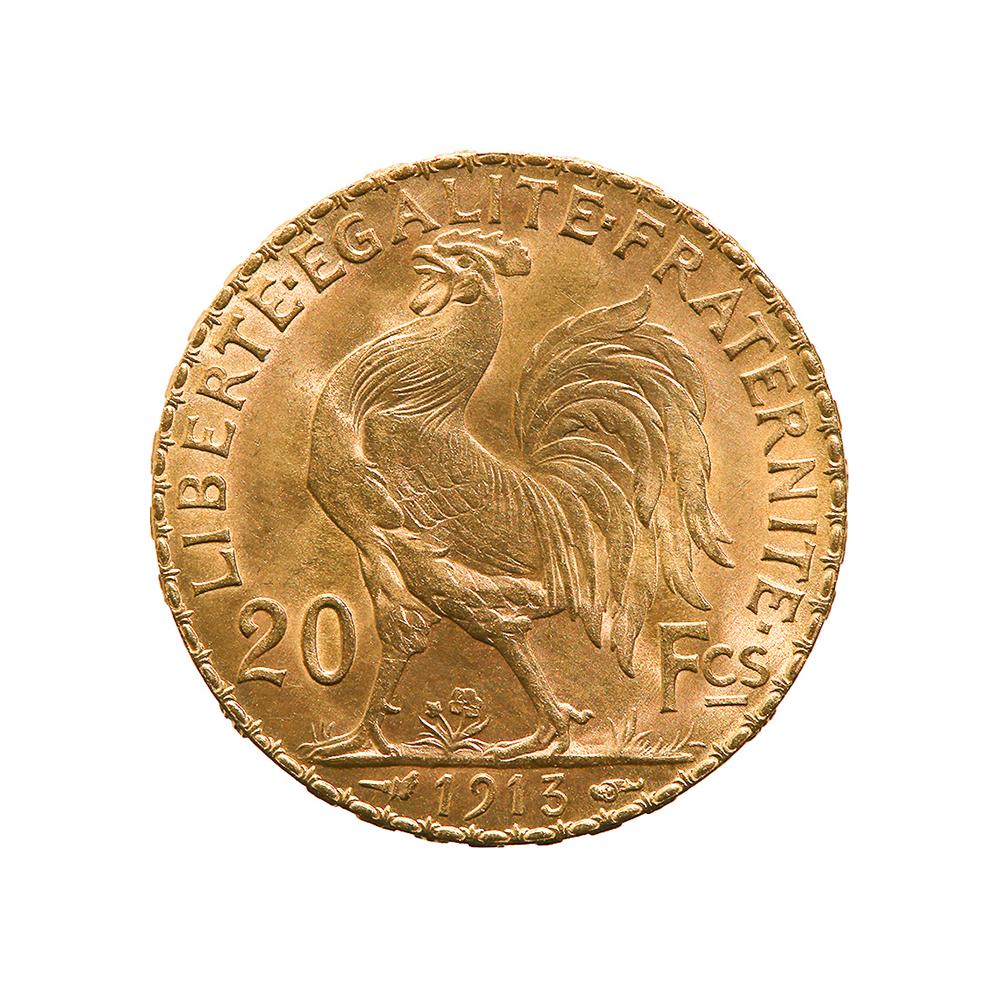 France 20 Francs Rooster Gold Coin 1901-1914