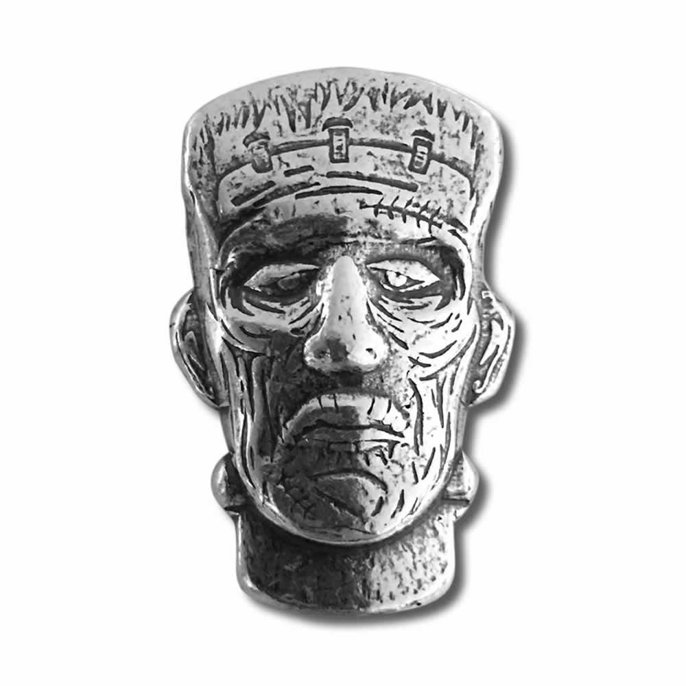 1.5 oz Frankenstein Monster Head Hand Poured Silver Bar