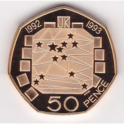 Great Britain 50 pence gold 1992 European Council