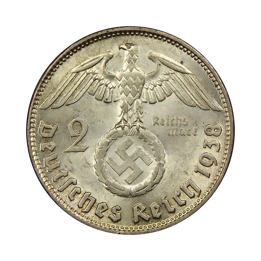 Germany Third Reich 2 reichsmark 1936-1939 VF-XF KM93