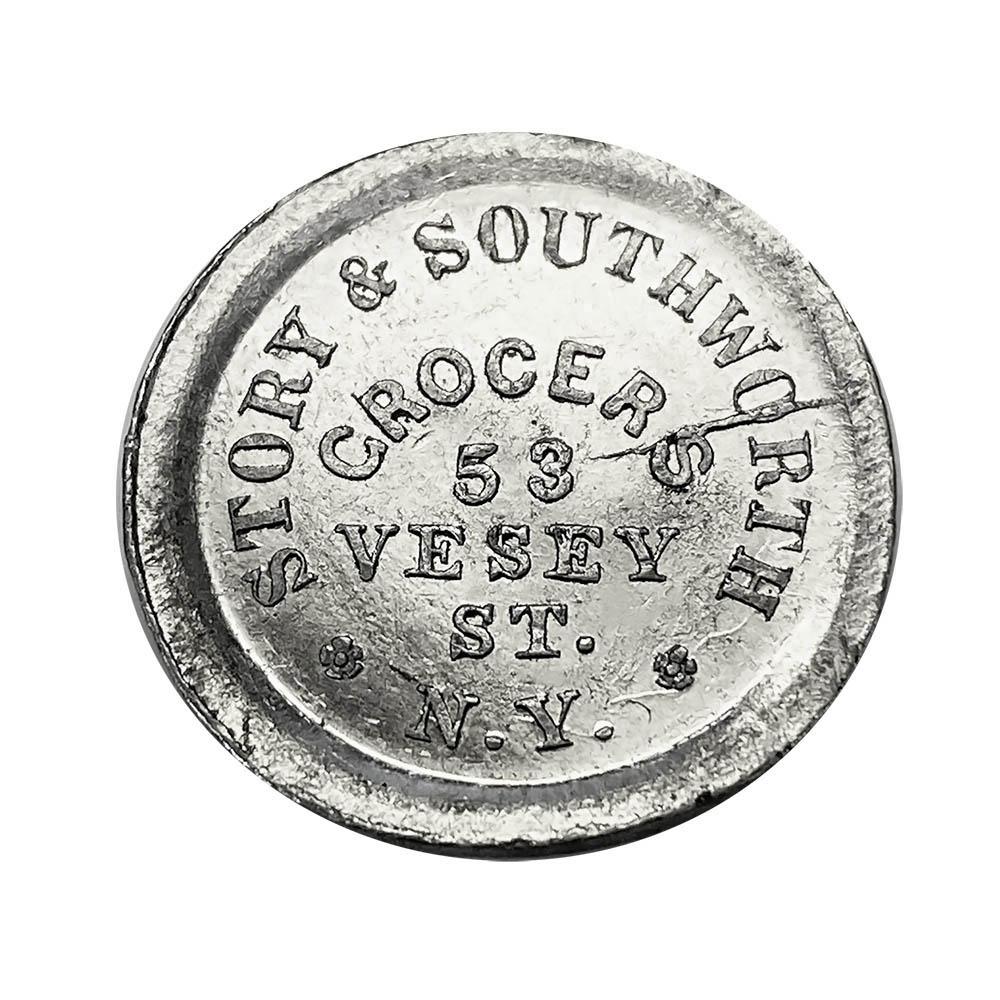 Civil War Store Card New York NY 1863 Story & Southworth 630BV-9d UNC White Metal