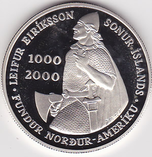 Iceland 1000 Kronur Proof 2000 Leif Ericson