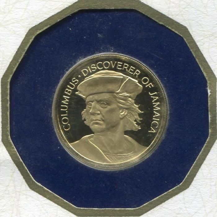 Jamaica $100 gold PF 1975 Columbus