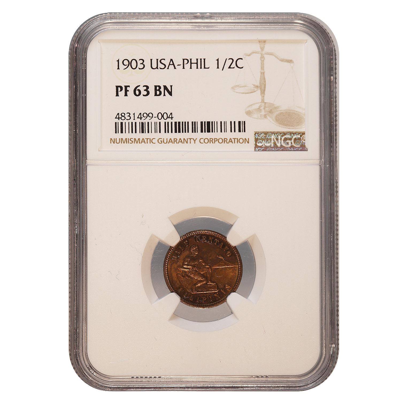 Philippines--U.S. Administration Half Cent 1903 PF63BN