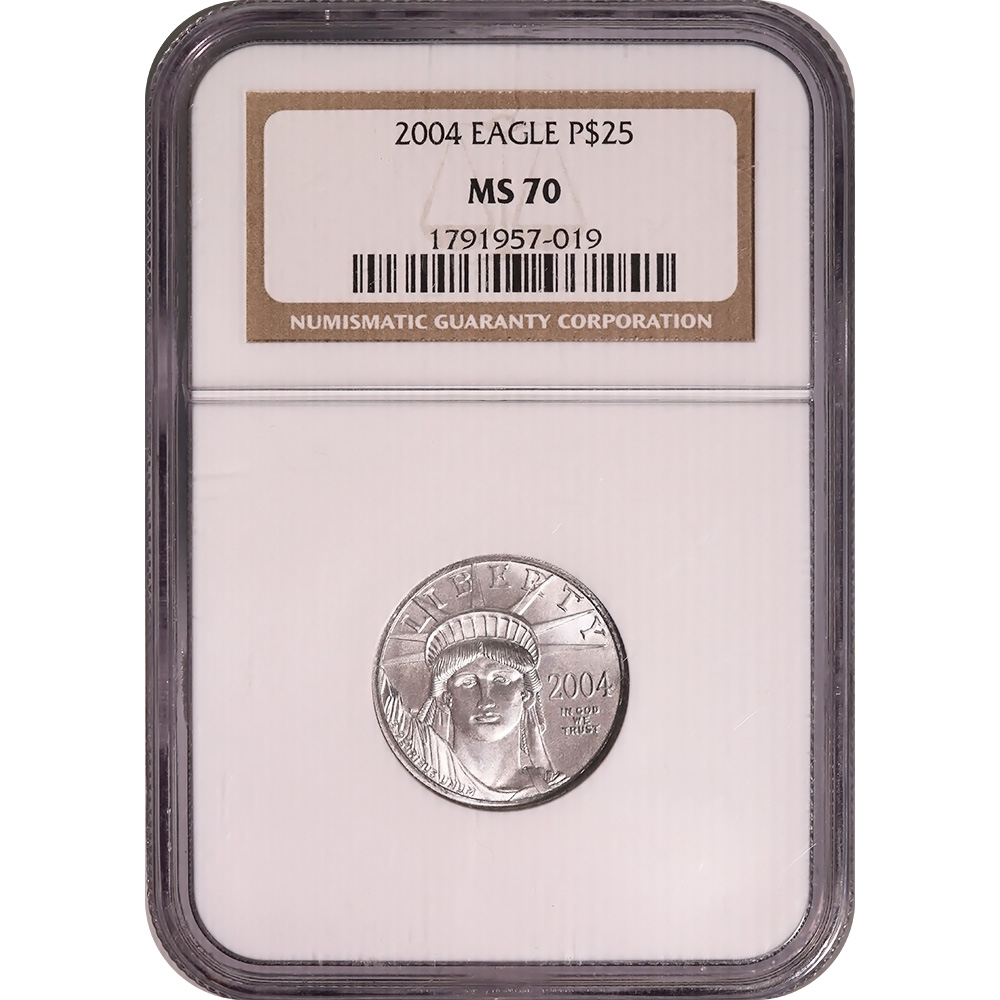 Certified Platinum American Eagle 2004 $25 Quarter Ounce MS70 NGC