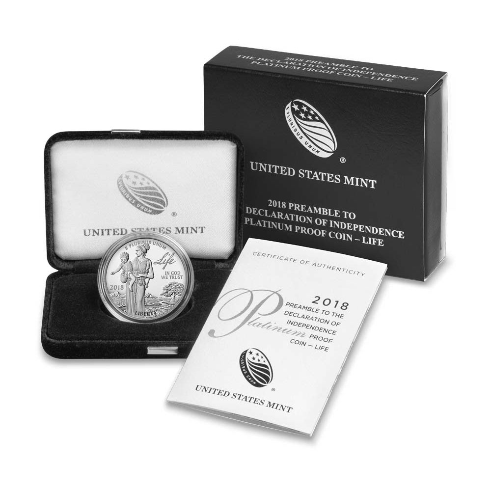 Preamble to the Declaration of Independence 2018 Proof Platinum Coin - Life