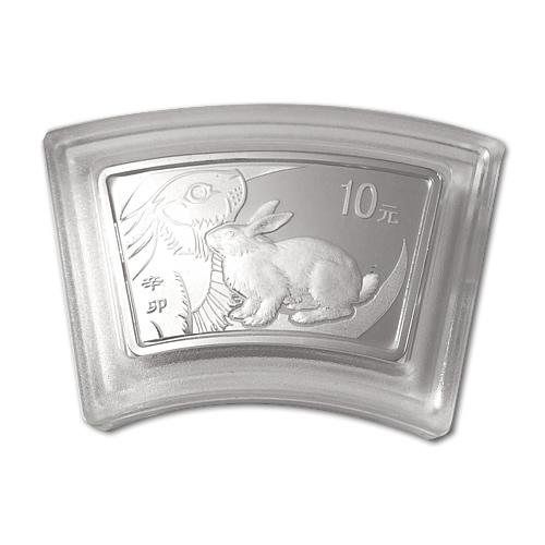 China 2011 Year of the Rabbit 1 oz Silver Fan (w Box & COA)