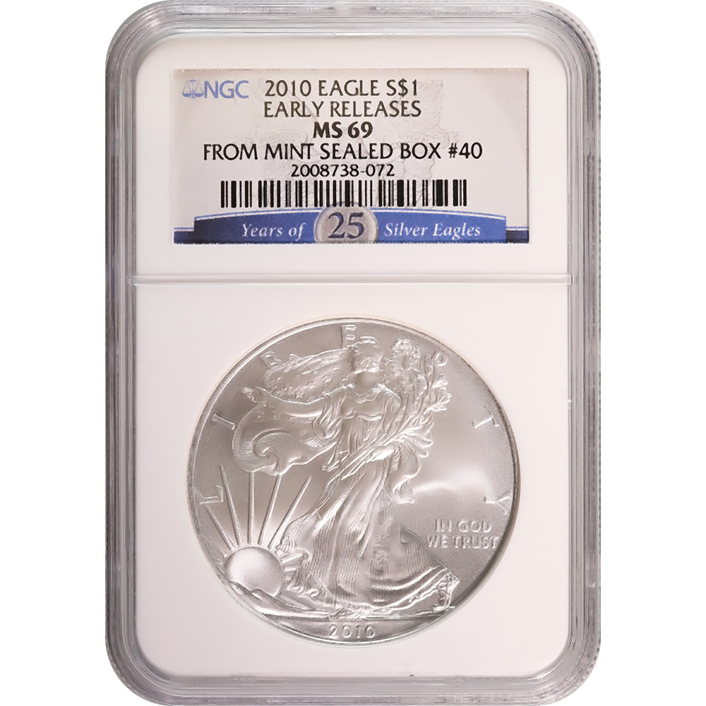 Certified Uncirculated Silver Eagle 2010 MS69 NGC Early Release 25th Anniversary
