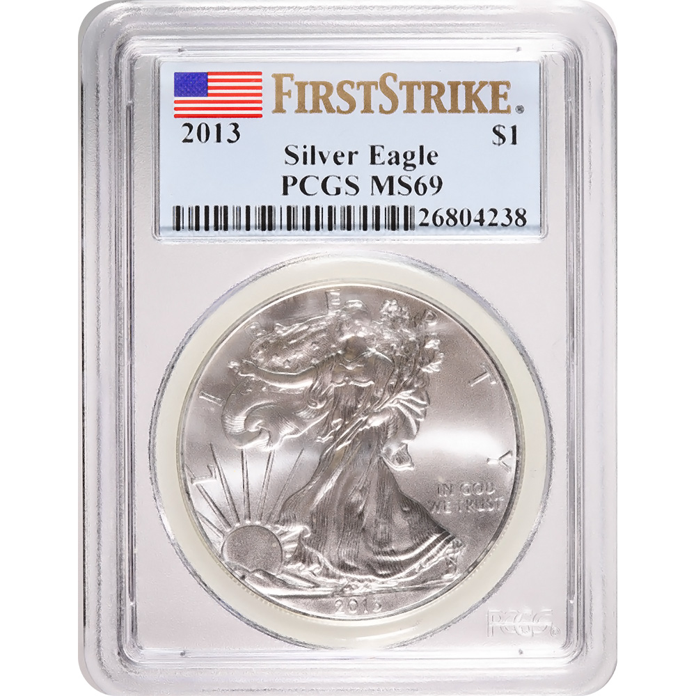 Certified Uncirculated Silver Eagle 2013 MS69 PCGS First Strike