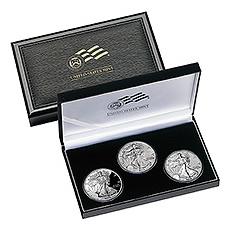 2006 American Eagle 20th Anniversary 3pc Silver Set Original Box