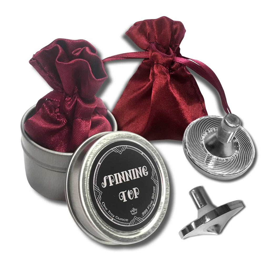 Silver Spinning Top - 1oz .999 with Pouch and Gift Tin