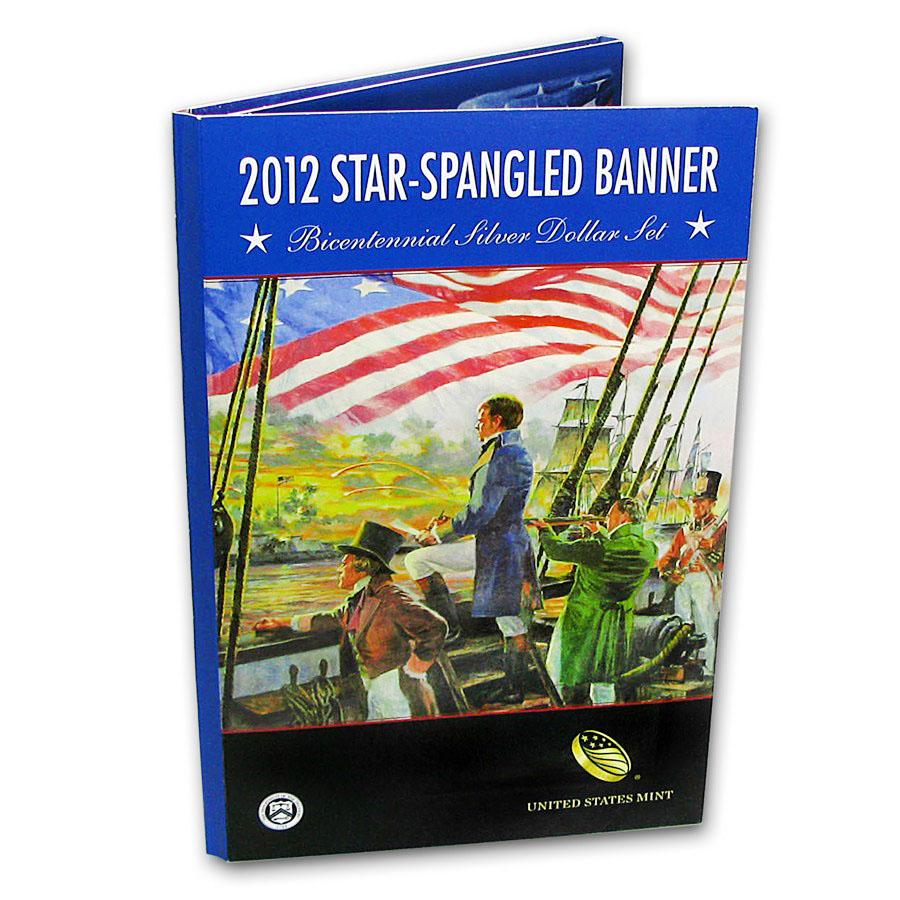 2012 Silver Star Spangled Banner Bicentennial Silver Proof Dollar Set