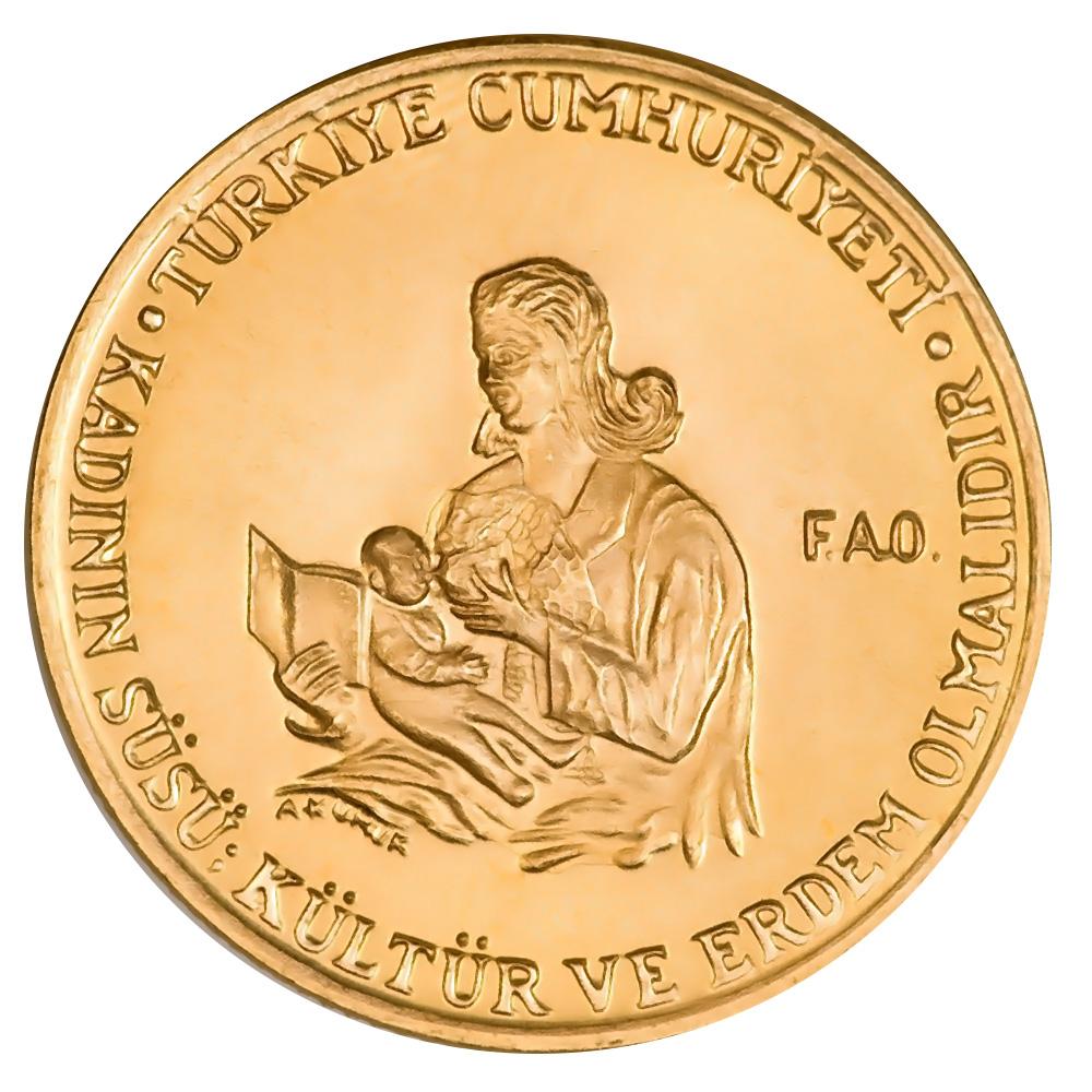 Turkey 500 Lira Gold 1978 PF FAO