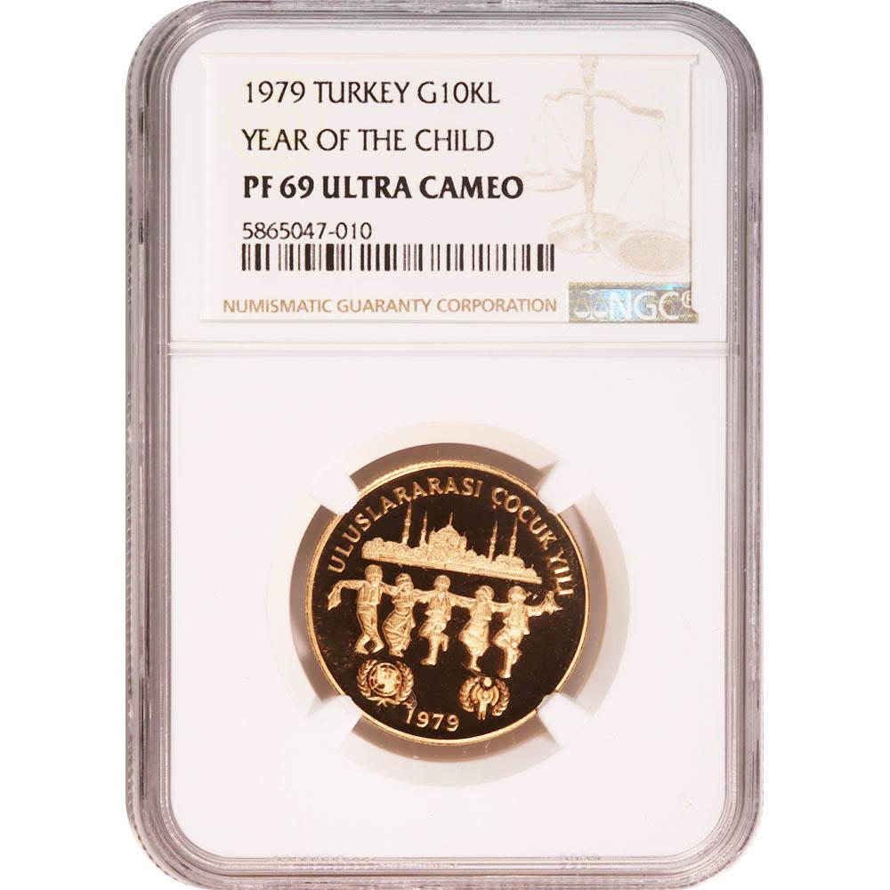 Turkey 10000 Lira Gold 1979 Year of the Child PF69 NGC