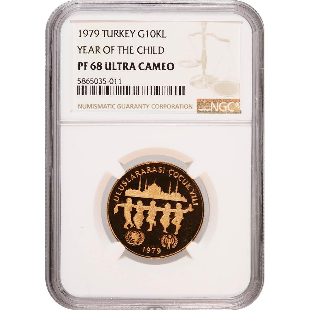 Turkey 10000 Lira Gold 1979 Year of the Child PF68 NGC