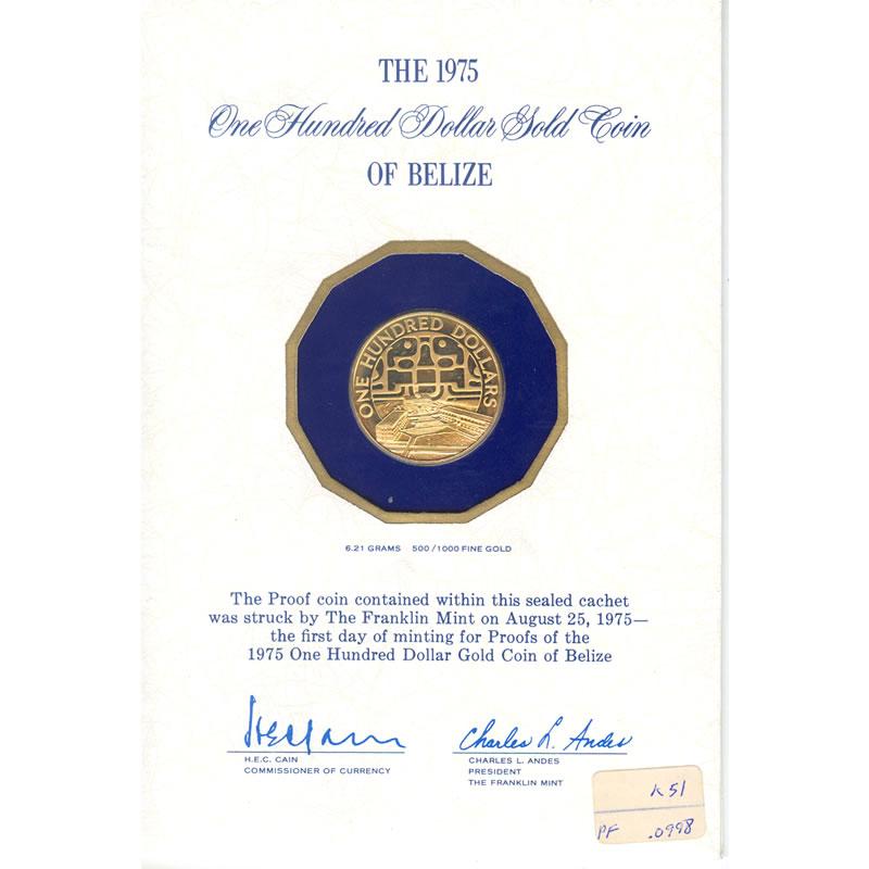 Belize $100 Gold Proof 1975 United Nations