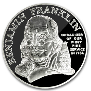1992 Ben Franklin Firefighters Silver Medal 1 oz - Proof