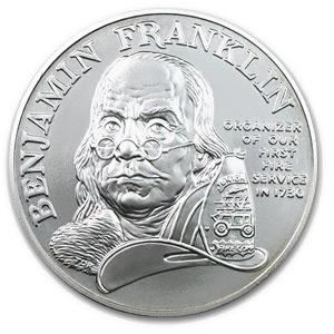 1992 Ben Franklin Firefighters Silver Medal 1 oz - Unc
