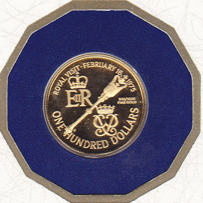 Bermuda $100 Gold PF 1975 Royal Visit