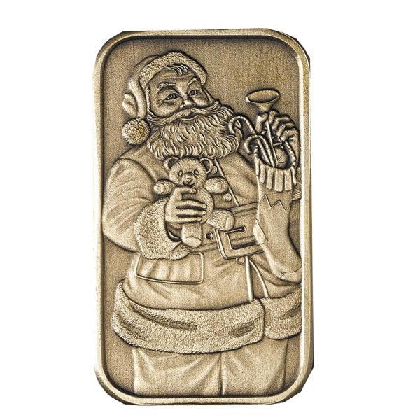 Christmas 2009 Bronze Bar X-1 Santa (with ornament holder)