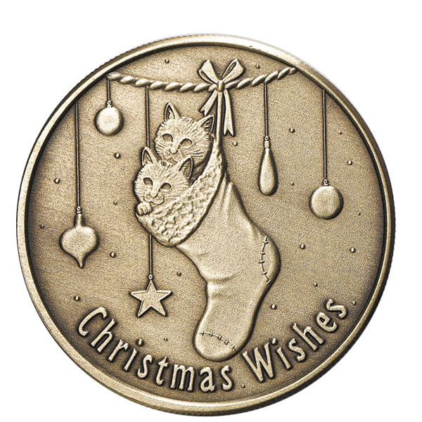 Christmas 2009 Bronze Round X-12 Christmas Wishes (with ornament holder)