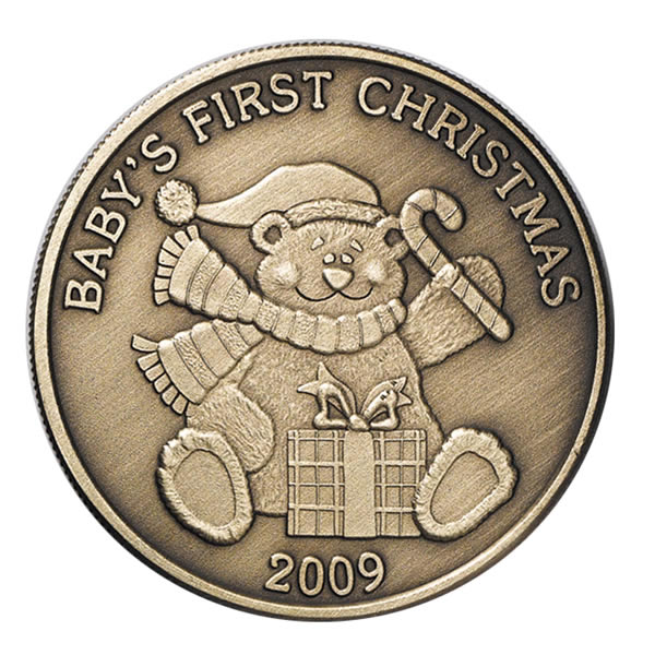 Christmas 2009 Bronze Round X-14 Baby's First Christmas (with ornament holder)