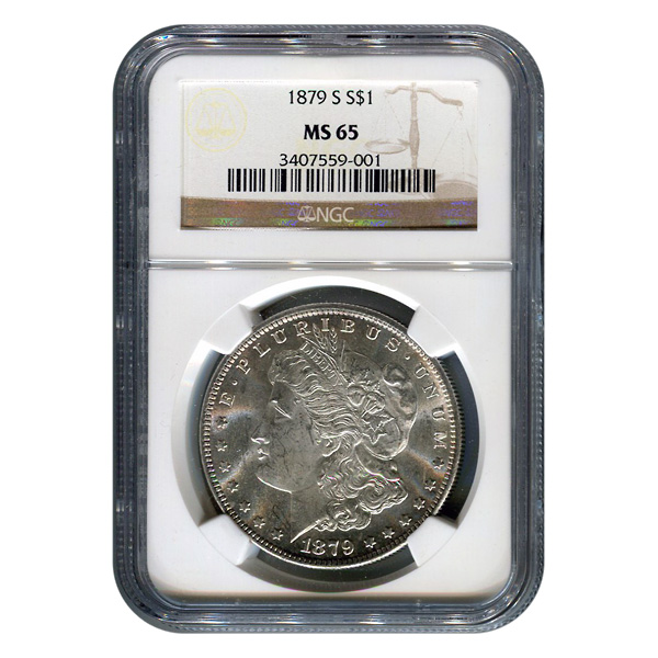 Certified Morgan Silver Dollar 1879-S MS65 NGC
