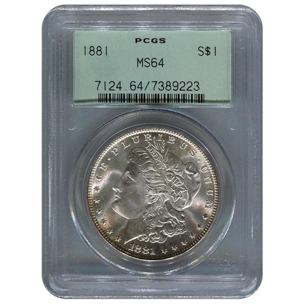 Certified Morgan Silver Dollar 1881 MS64 PCGS