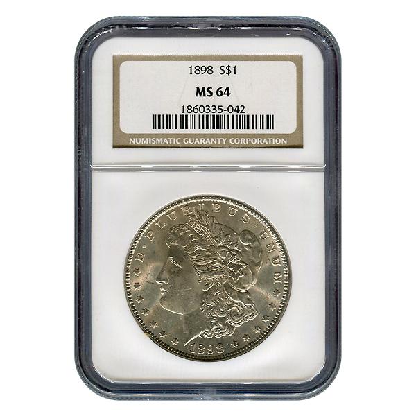 Certified Morgan Silver Dollar 1898 MS64 NGC