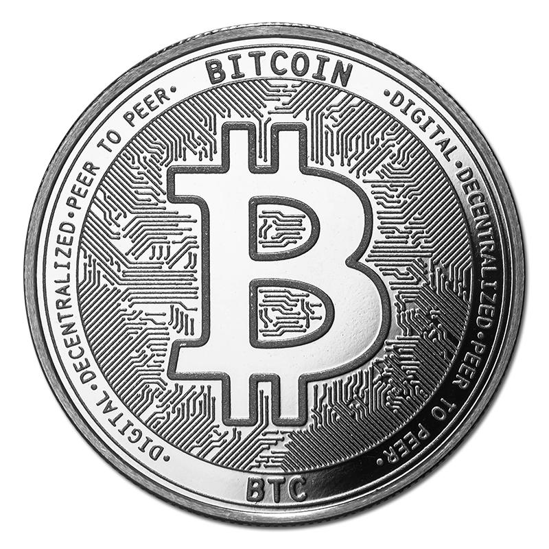 1 oz Silver Bullion Cryptocurrency Bitcoin Round .999 fine