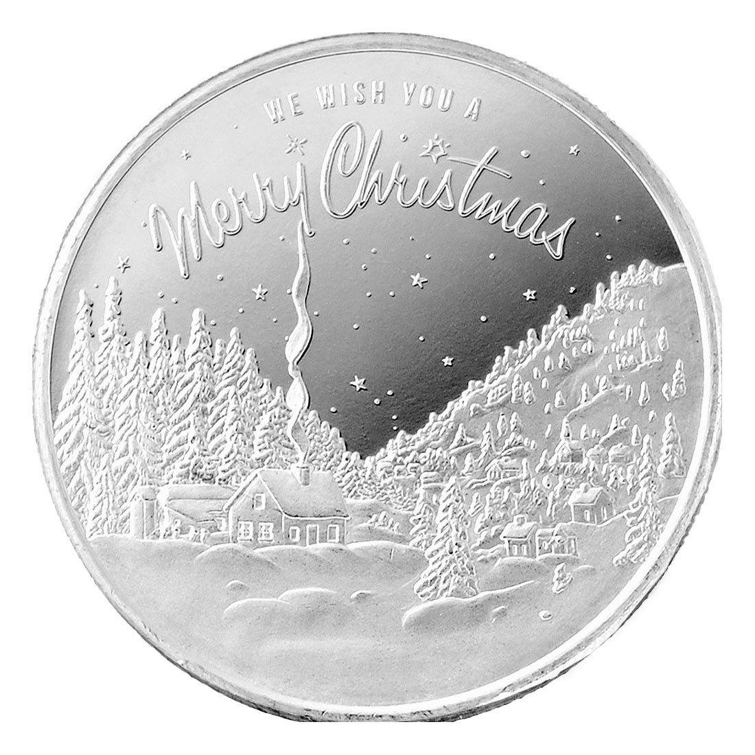 2021 Christmas in the Mountains 1oz Silver Round (D-16)