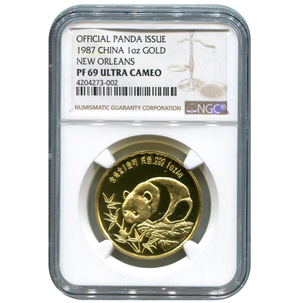 China 1 ounce gold Panda 1987 New Orleans PF69 NGC