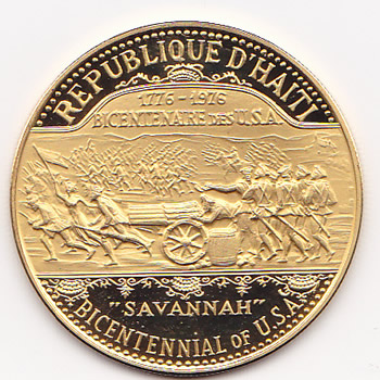 Haiti 1000 gourdes gold PF 1974 U.S. Bicentennial