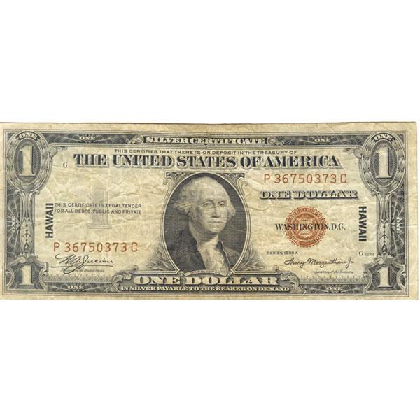 1935A Hawaii $1 silver certificate VG-F