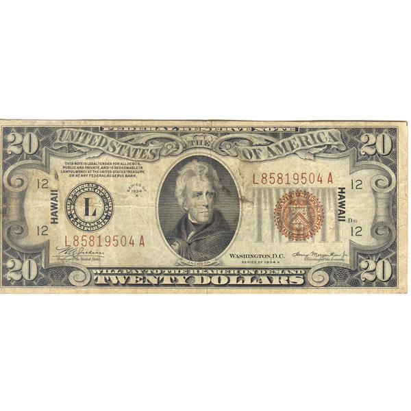 1934A $20 Hawaii Federal Reserve Note F